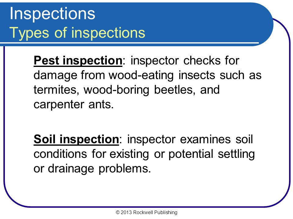 © 2013 Rockwell Publishing Inspections Types of inspections Pest inspection: inspector checks for damage from wood-eating insects such as termites, wood-boring beetles, and carpenter ants.