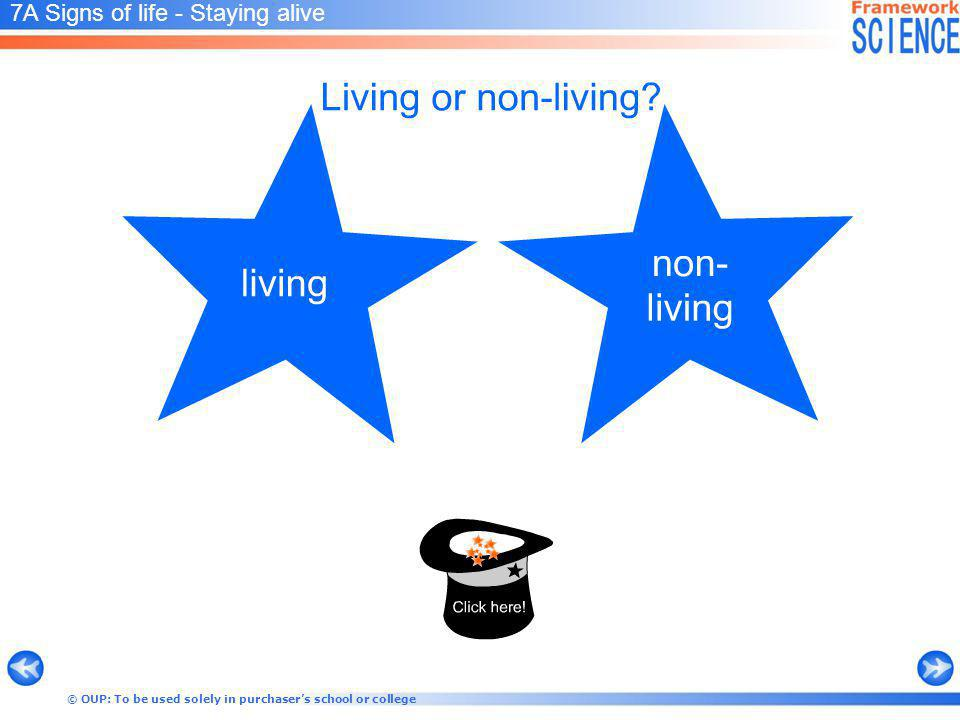 © OUP: To be used solely in purchasers school or college 7A Signs of life - Staying alive