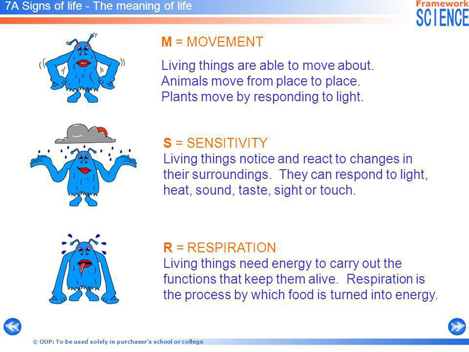 © OUP: To be used solely in purchasers school or college 7A Signs of life - The meaning of life S = SENSITIVITY Living things notice and react to changes in their surroundings.