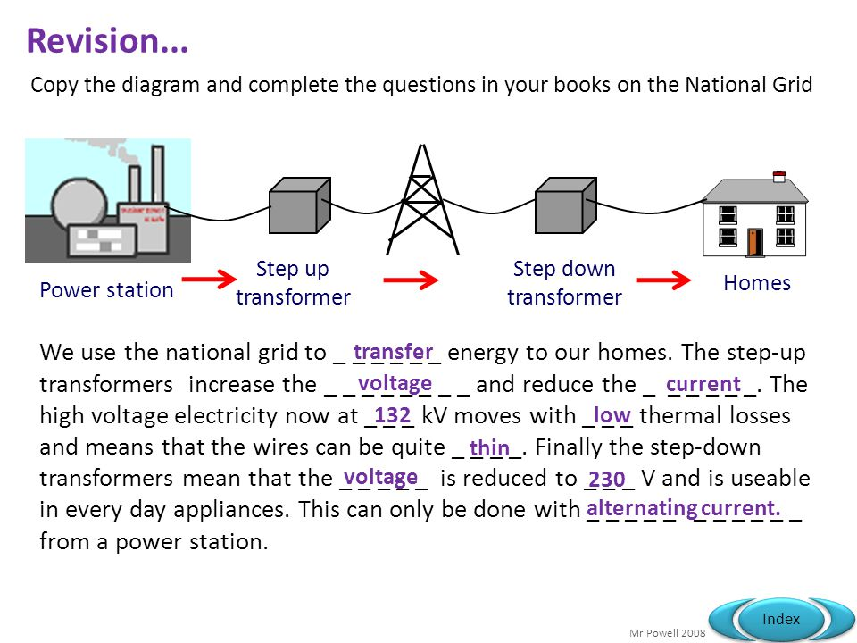Mr Powell 2008 Index Revision...We use the national grid to _ _ _ _ _ _ energy to our homes.