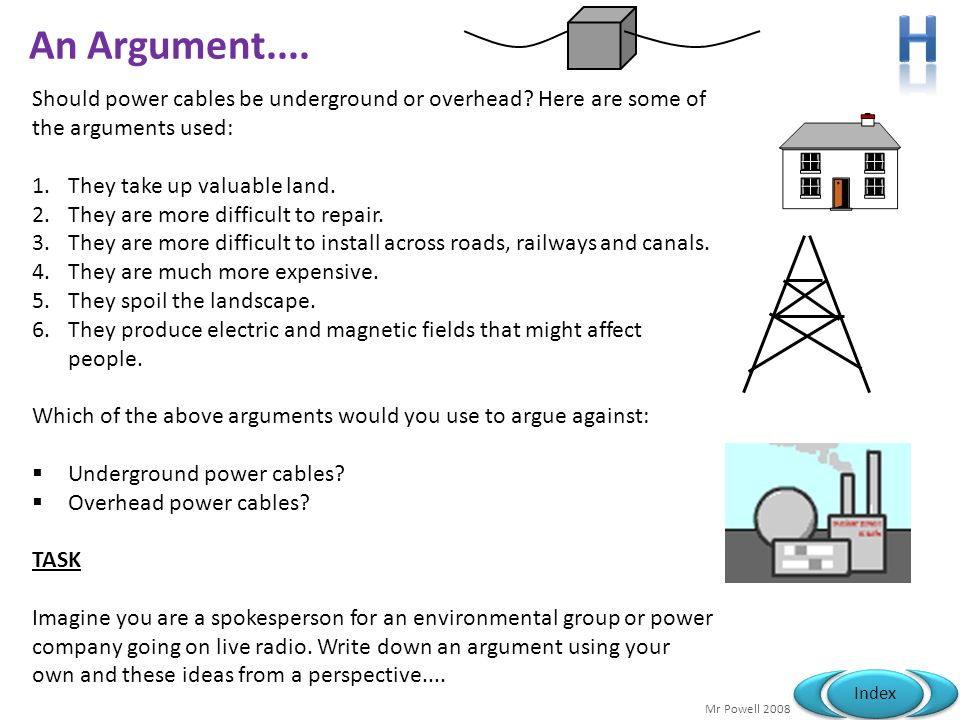 Mr Powell 2008 Index An Argument.... Should power cables be underground or overhead? Here are some of the arguments used: 1.They take up valuable land
