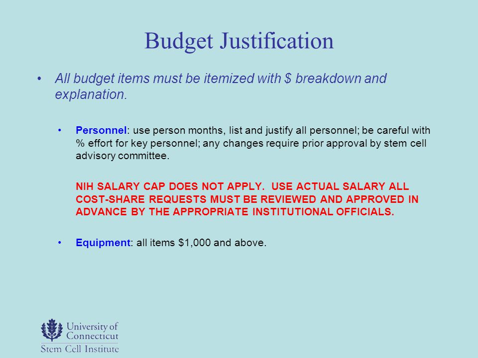 Budget Justification All budget items must be itemized with $ breakdown and explanation. Personnel: use person months, list and justify all personnel;