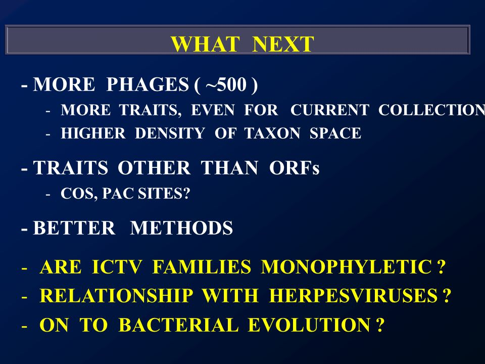 WHAT NEXT - MORE PHAGES ( ~500 ) -MORE TRAITS, EVEN FOR CURRENT COLLECTION -HIGHER DENSITY OF TAXON SPACE - TRAITS OTHER THAN ORFs -COS, PAC SITES.