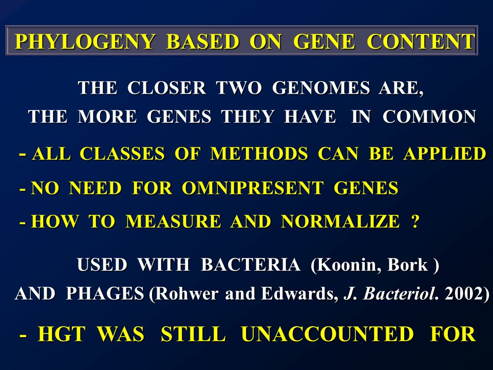 PHYLOGENY BASED ON GENE CONTENT PHYLOGENY BASED ON GENE CONTENT THE CLOSER TWO GENOMES ARE, THE MORE GENES THEY HAVE IN COMMON - ALL CLASSES OF METHODS CAN BE APPLIED - ALL CLASSES OF METHODS CAN BE APPLIED - NO NEED FOR OMNIPRESENT GENES - NO NEED FOR OMNIPRESENT GENES - HOW TO MEASURE AND NORMALIZE .