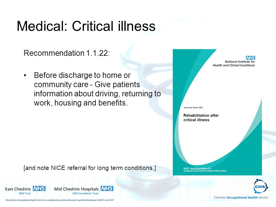 Medical: Critical illness Recommendation 1.1.22: Before discharge to home or community care - Give patients information about driving, returning to wo