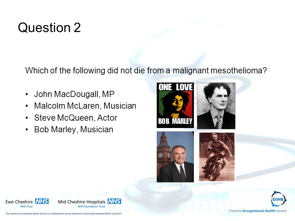 Question 2 Which of the following did not die from a malignant mesothelioma? John MacDougall, MP Malcolm McLaren, Musician Steve McQueen, Actor Bob Ma
