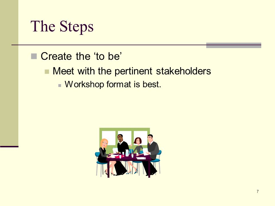 7 The Steps Create the to be Meet with the pertinent stakeholders Workshop format is best.