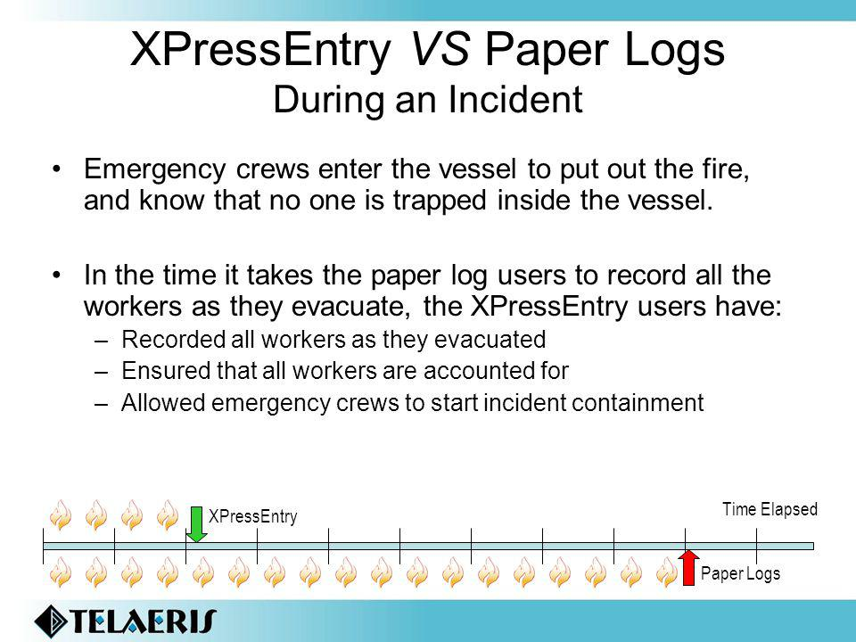 XPressEntry VS Paper Logs During an Incident Emergency crews enter the vessel to put out the fire, and know that no one is trapped inside the vessel.