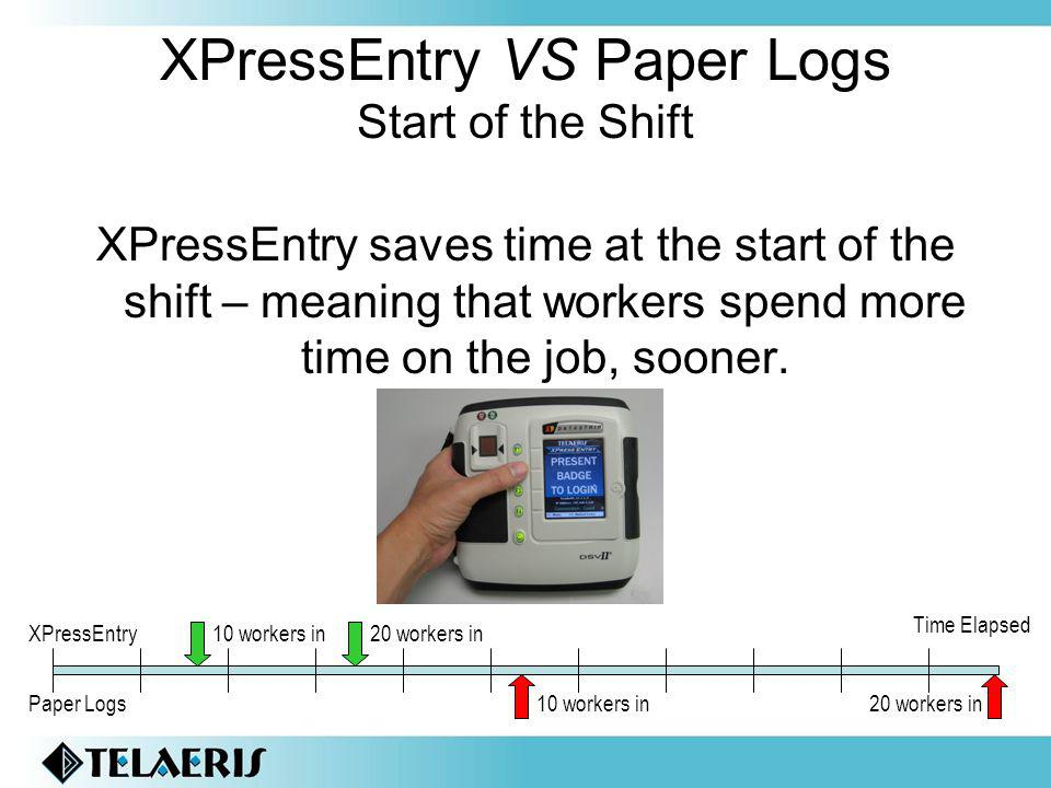 XPressEntry VS Paper Logs Start of the Shift XPressEntry saves time at the start of the shift – meaning that workers spend more time on the job, sooner.