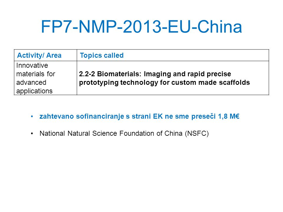 FP7-NMP-2013-EU-China Activity/ AreaTopics called Innovative materials for advanced applications 2.2-2 Biomaterials: Imaging and rapid precise prototyping technology for custom made scaffolds zahtevano sofinanciranje s strani EK ne sme preseči 1,8 M National Natural Science Foundation of China (NSFC)