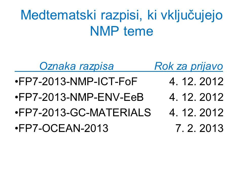 Medtematski razpisi, ki vključujejo NMP teme Oznaka razpisa Rok za prijavo FP7-2013-NMP-ICT-FoF 4.