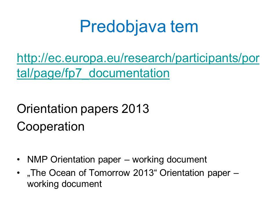 Predobjava tem http://ec.europa.eu/research/participants/por tal/page/fp7_documentation Orientation papers 2013 Cooperation NMP Orientation paper – working document The Ocean of Tomorrow 2013 Orientation paper – working document