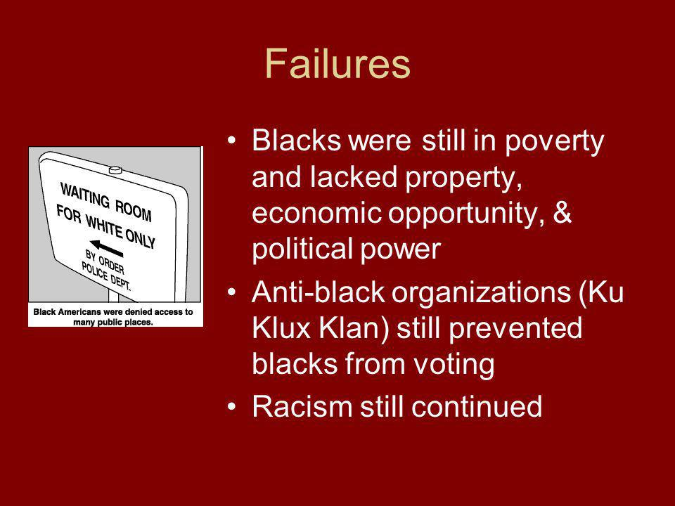 Failures Blacks were still in poverty and lacked property, economic opportunity, & political power Anti-black organizations (Ku Klux Klan) still preve