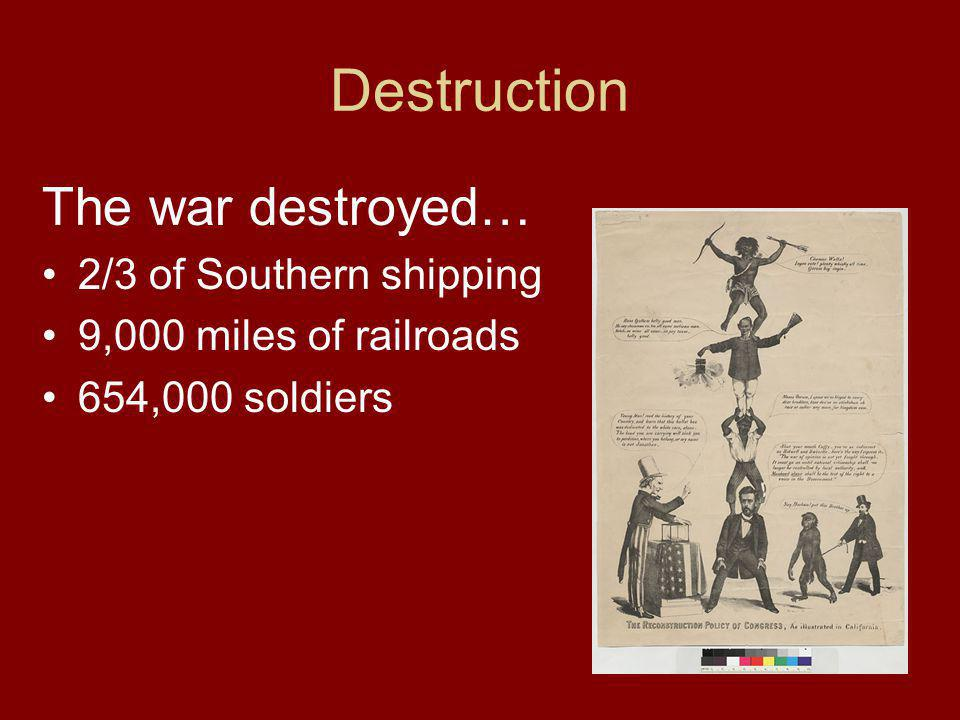 Destruction The war destroyed… 2/3 of Southern shipping 9,000 miles of railroads 654,000 soldiers