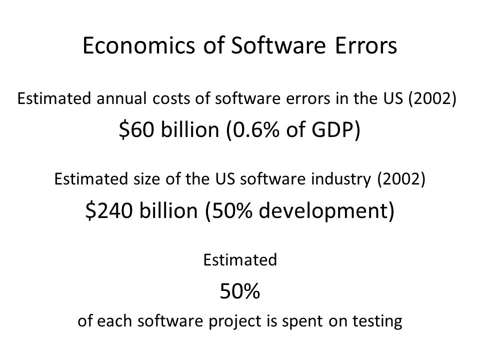 Economics of Software Errors Estimated annual costs of software errors in the US (2002) $60 billion (0.6% of GDP) Estimated size of the US software industry (2002) $240 billion (50% development) Estimated 50% of each software project is spent on testing