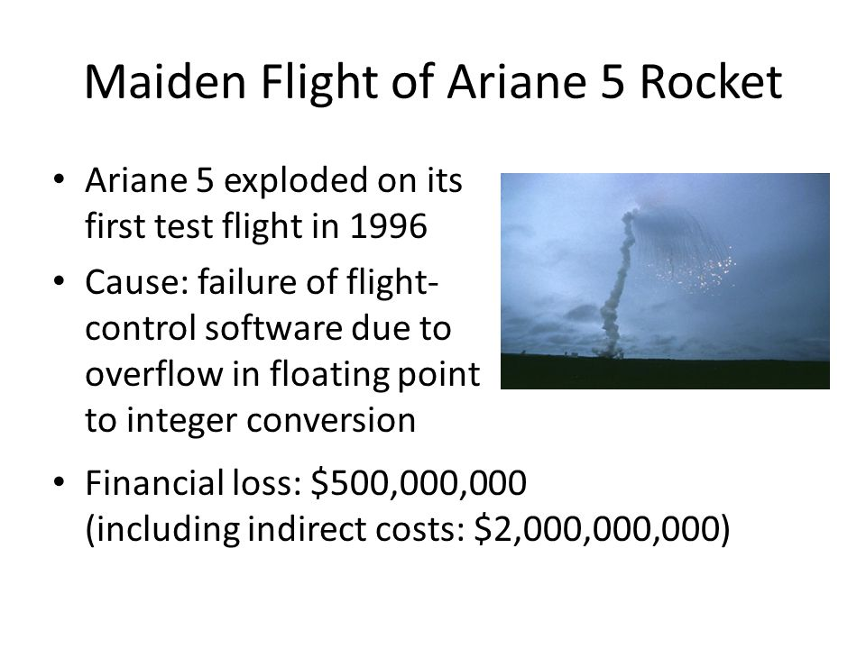 Maiden Flight of Ariane 5 Rocket Ariane 5 exploded on its first test flight in 1996 Cause: failure of flight- control software due to overflow in floating point to integer conversion Financial loss: $500,000,000 (including indirect costs: $2,000,000,000)
