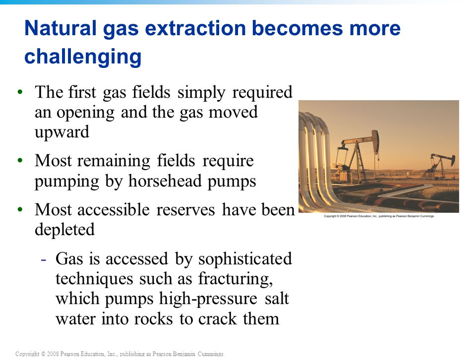 Copyright © 2008 Pearson Education, Inc., publishing as Pearson Benjamin Cummings Natural gas extraction becomes more challenging The first gas fields