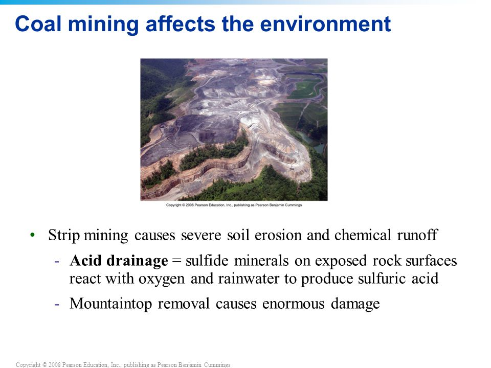 Copyright © 2008 Pearson Education, Inc., publishing as Pearson Benjamin Cummings Coal mining affects the environment Strip mining causes severe soil