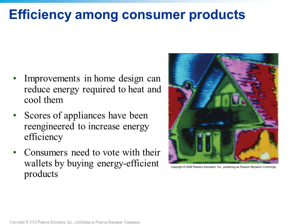 Copyright © 2008 Pearson Education, Inc., publishing as Pearson Benjamin Cummings Efficiency among consumer products Improvements in home design can r