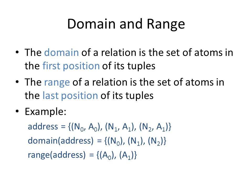 Domain and Range The domain of a relation is the set of atoms in the first position of its tuples The range of a relation is the set of atoms in the last position of its tuples Example: address = {(N 0, A 0 ), (N 1, A 1 ), (N 2, A 1 )} domain(address) = {(N 0 ), (N 1 ), (N 2 )} range(address) = {(A 0 ), (A 1 )}