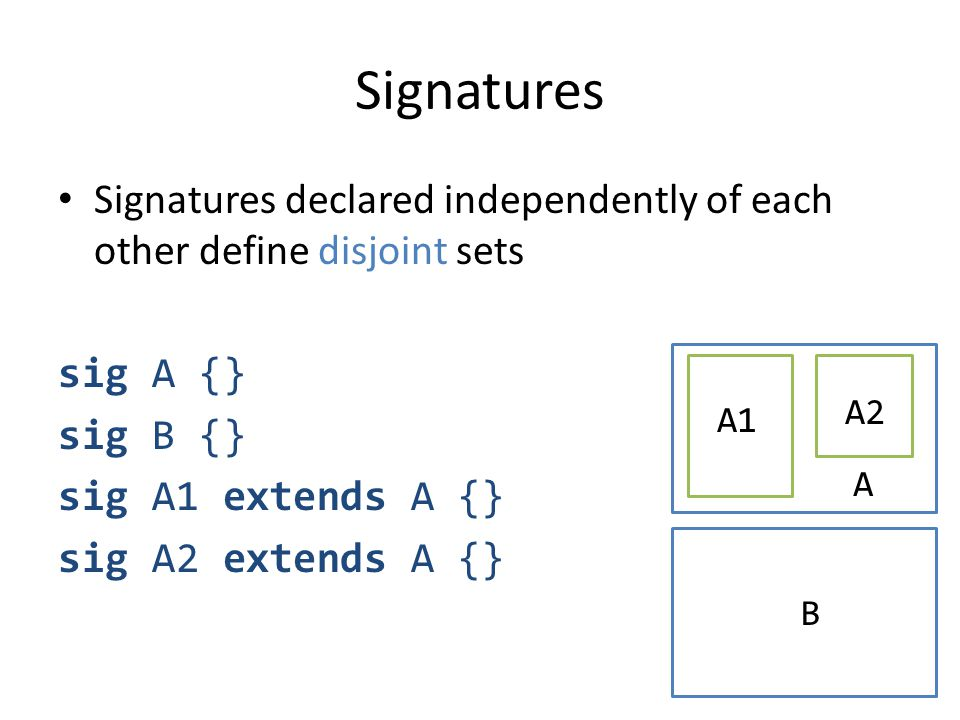 Signatures Signatures declared independently of each other define disjoint sets sig A {} sig B {} sig A1 extends A {} sig A2 extends A {} A A1 A2 B