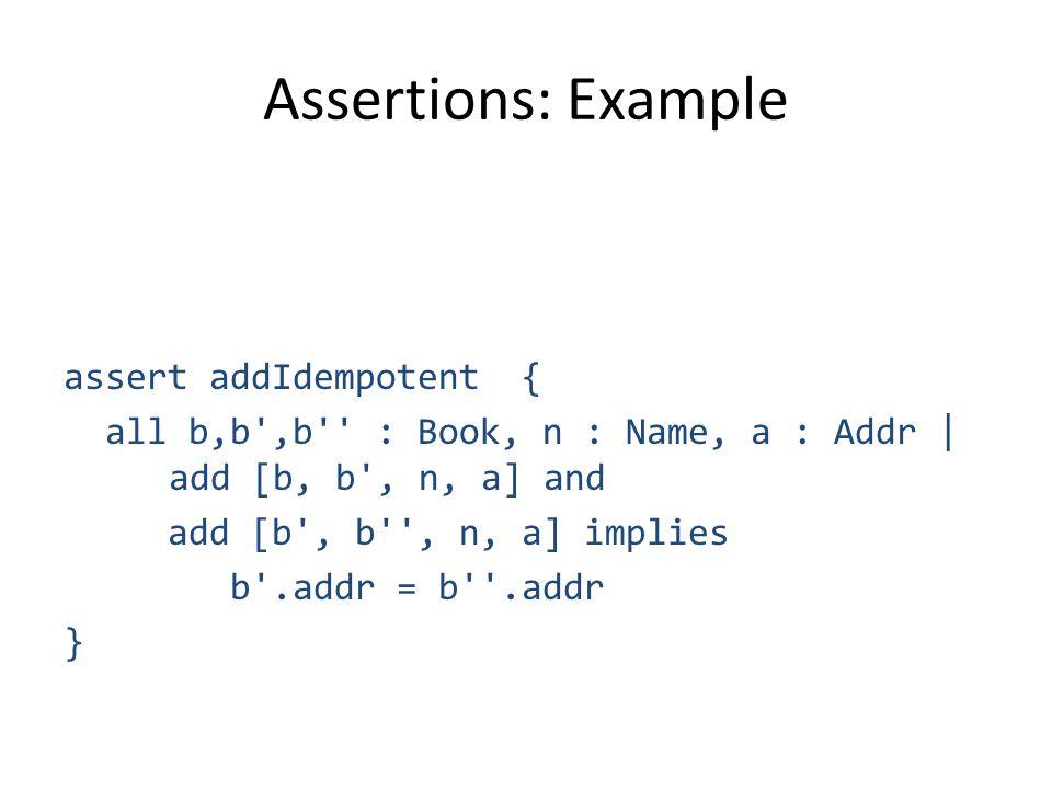 Assertions: Example assert addIdempotent { all b,b ,b : Book, n : Name, a : Addr | add [b, b , n, a] and add [b , b , n, a] implies b .addr = b .addr }