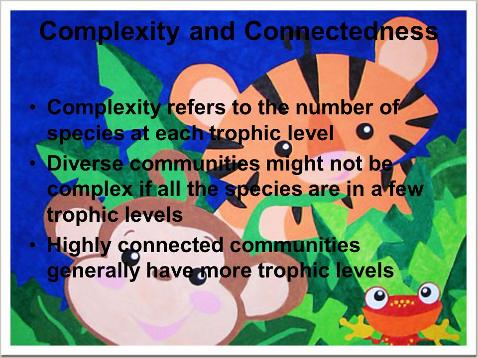 Complexity and Connectedness Complexity refers to the number of species at each trophic level Diverse communities might not be complex if all the spec