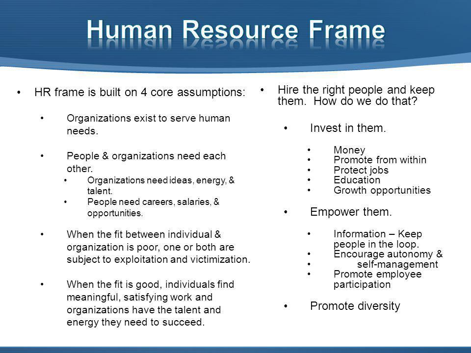 HR frame is built on 4 core assumptions: Organizations exist to serve human needs.