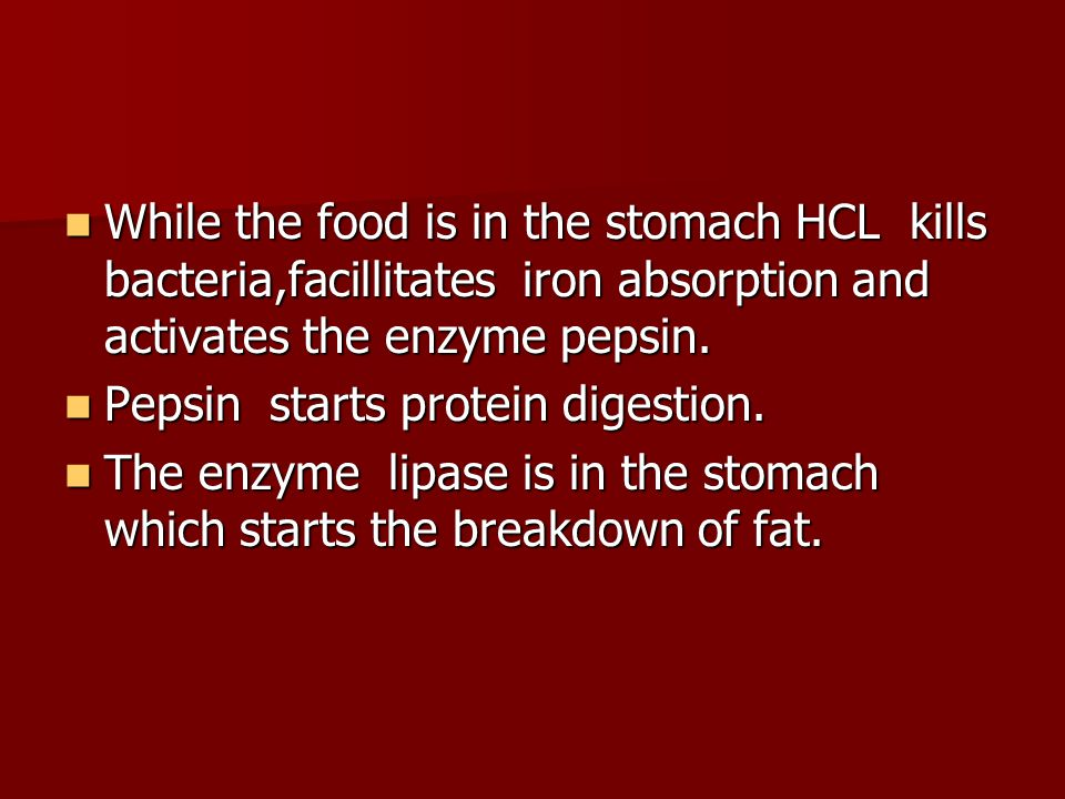 While the food is in the stomach HCL kills bacteria,facillitates iron absorption and activates the enzyme pepsin.