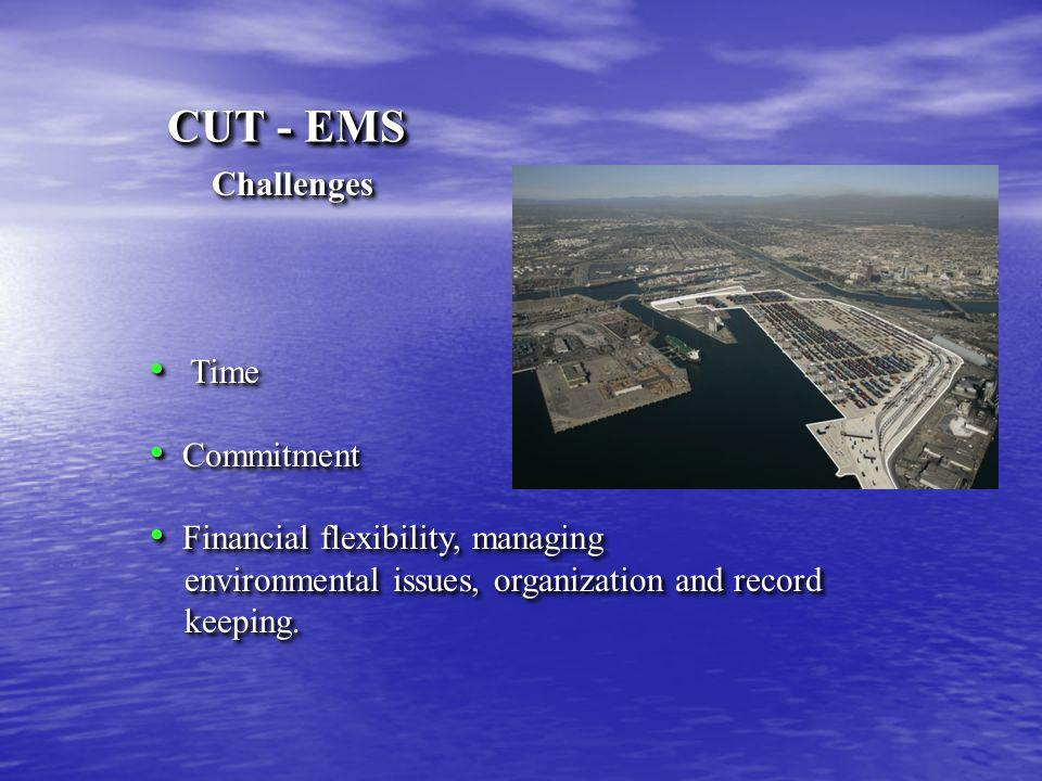 Time Time Commitment Commitment Financial flexibility, managing Financial flexibility, managing environmental issues, organization and record environm