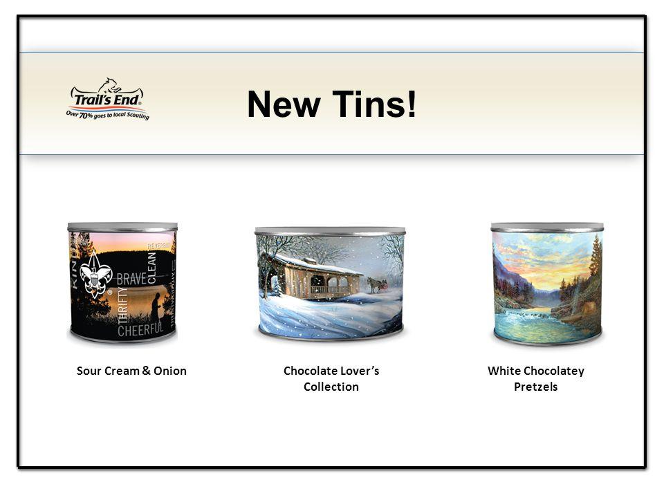 New Tins! Sour Cream & OnionChocolate Lovers Collection White Chocolatey Pretzels