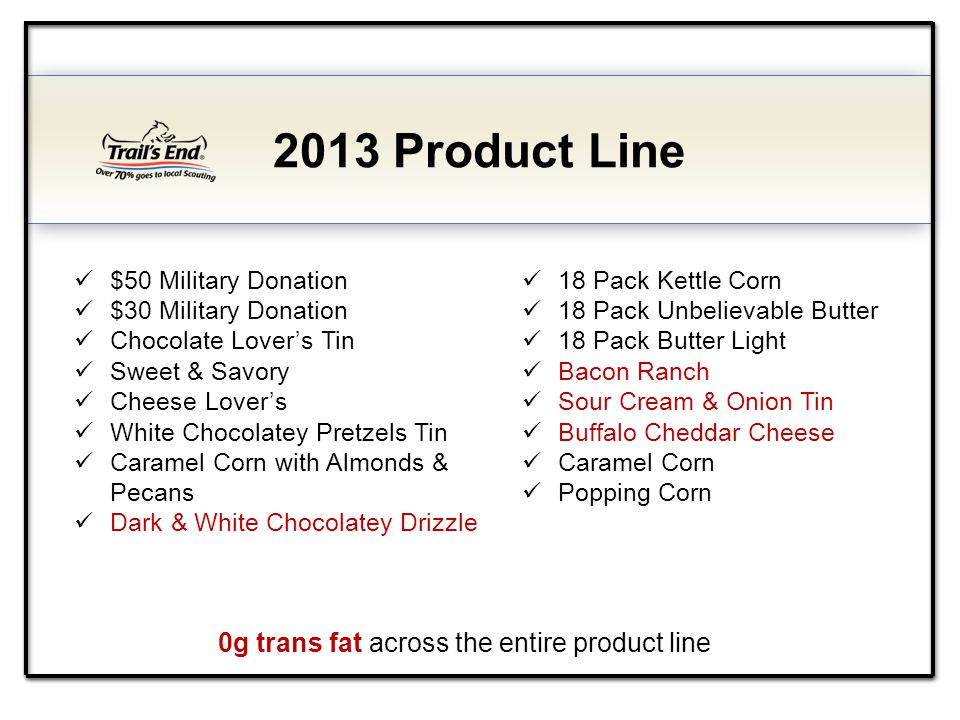 0g trans fat across the entire product line 2013 Product Line $50 Military Donation $30 Military Donation Chocolate Lovers Tin Sweet & Savory Cheese L