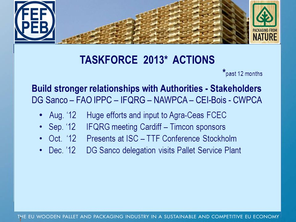 TASKFORCE 2013* ACTIONS * past 12 months Build stronger relationships with Authorities - Stakeholders DG Sanco – FAO IPPC – IFQRG – NAWPCA – CEI-Bois