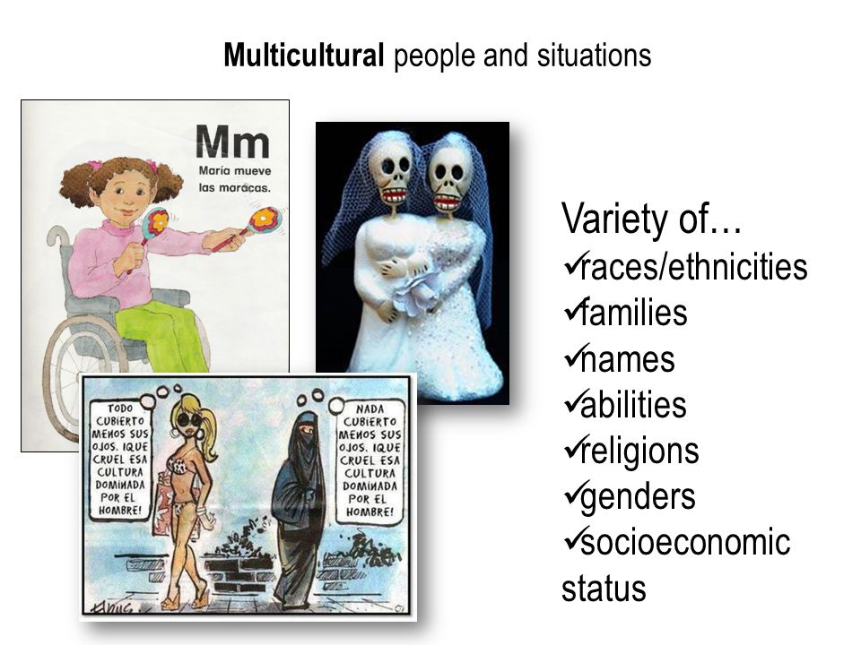 Multicultural people and situations Variety of… races/ethnicities families names abilities religions genders socioeconomic status