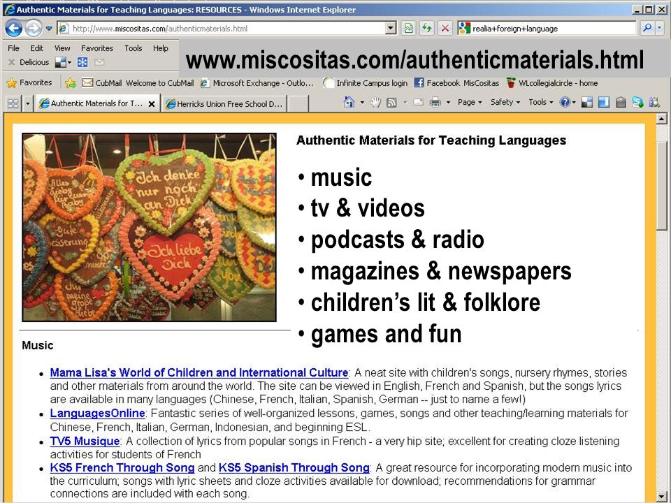 www.miscositas.com/authenticmaterials.html music tv & videos podcasts & radio magazines & newspapers childrens lit & folklore games and fun