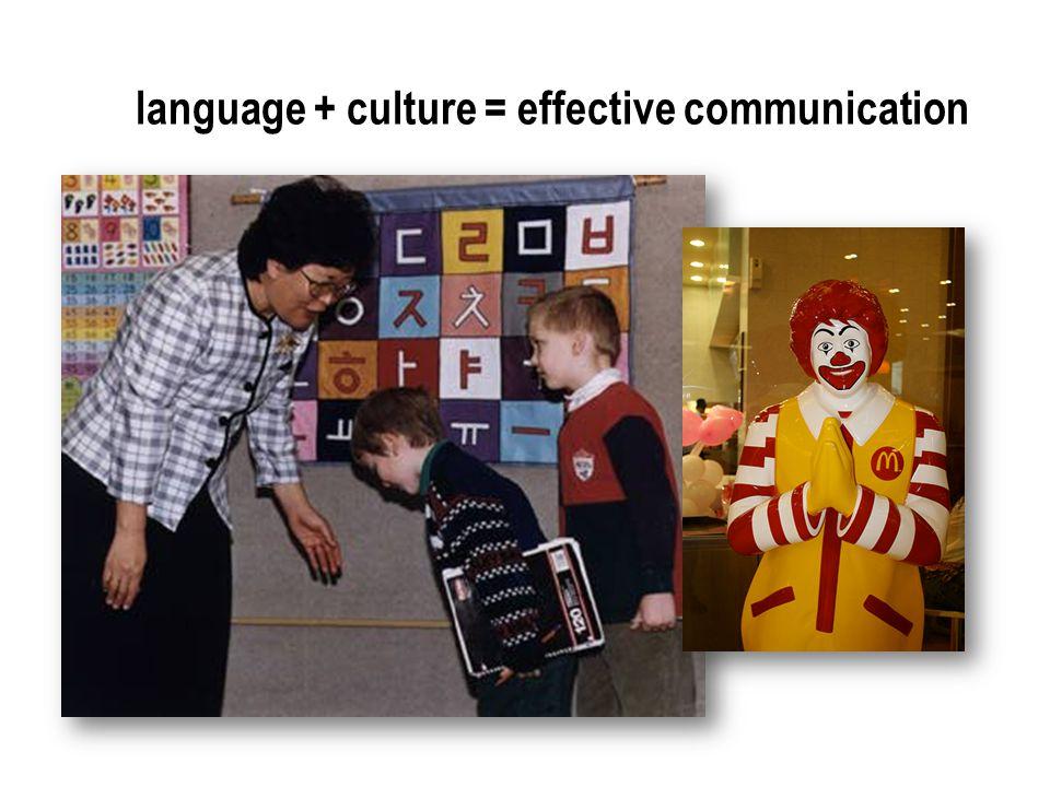 language + culture = effective communication