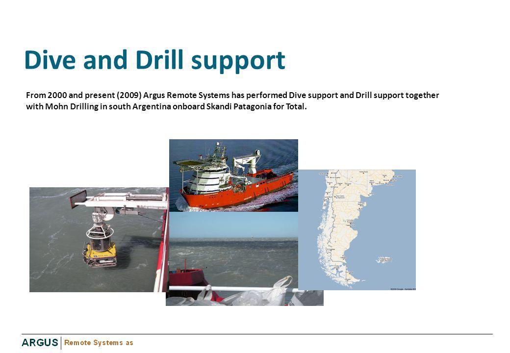 Dive and Drill support From 2000 and present (2009) Argus Remote Systems has performed Dive support and Drill support together with Mohn Drilling in s
