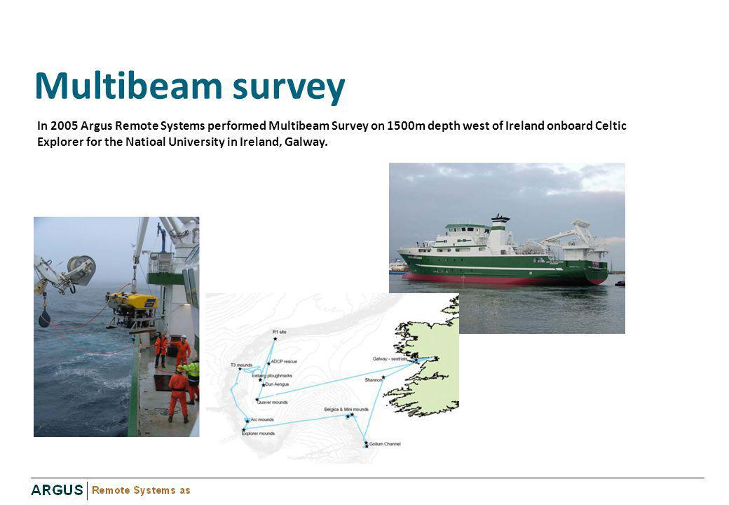 Multibeam survey In 2005 Argus Remote Systems performed Multibeam Survey on 1500m depth west of Ireland onboard Celtic Explorer for the Natioal Univer