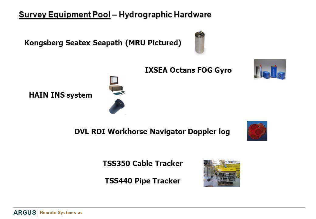 Survey Equipment Pool – Hydrographic Hardware Kongsberg Seatex Seapath (MRU Pictured) IXSEA Octans FOG Gyro /ater: HAIN INS system DVL RDI Workhorse N