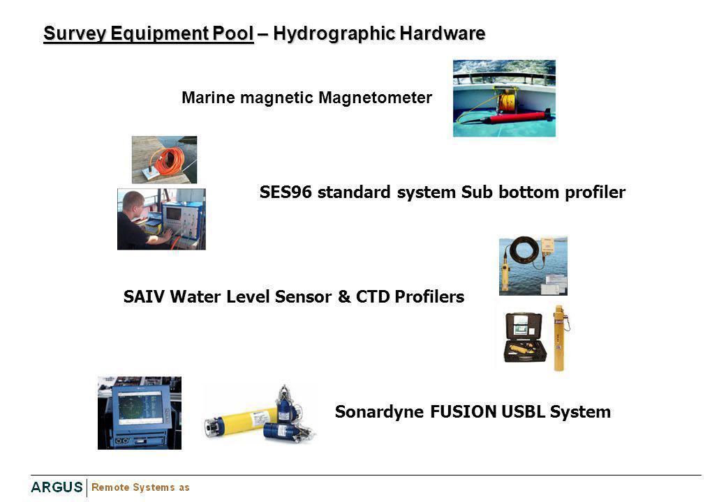 Survey Equipment Pool – Hydrographic Hardware Marine magnetic Magnetometer SAIV Water Level Sensor & CTD Profilers SES96 standard system Sub bottom pr