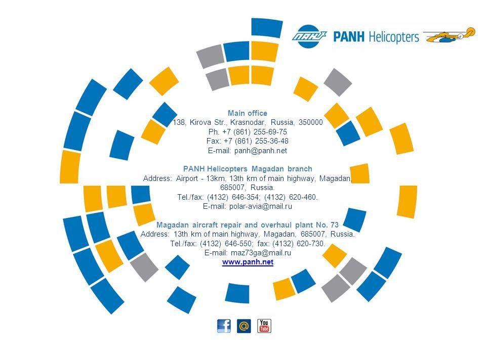 Main office 138, Kirova Str., Krasnodar, Russia, 350000 Ph. +7 (861) 255-69-75 Fax: +7 (861) 255-36-48 E-mail: panh@panh.net PANH Helicopters Magadan