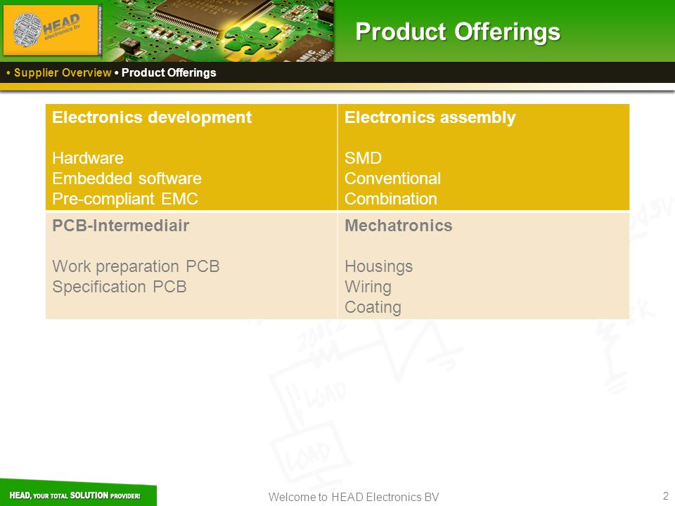 Welcome to HEAD Electronics BV 2 Electronics development Hardware Embedded software Pre-compliant EMC Electronics assembly SMD Conventional Combinatio