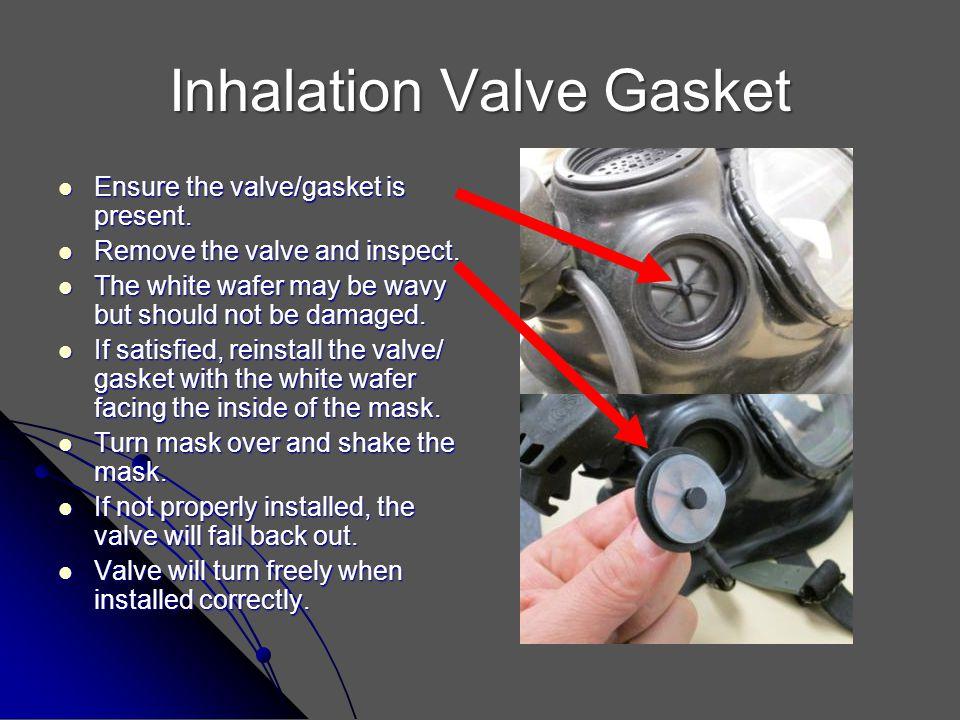 Inhalation Valve Gasket Ensure the valve/gasket is present. Ensure the valve/gasket is present. Remove the valve and inspect. Remove the valve and ins
