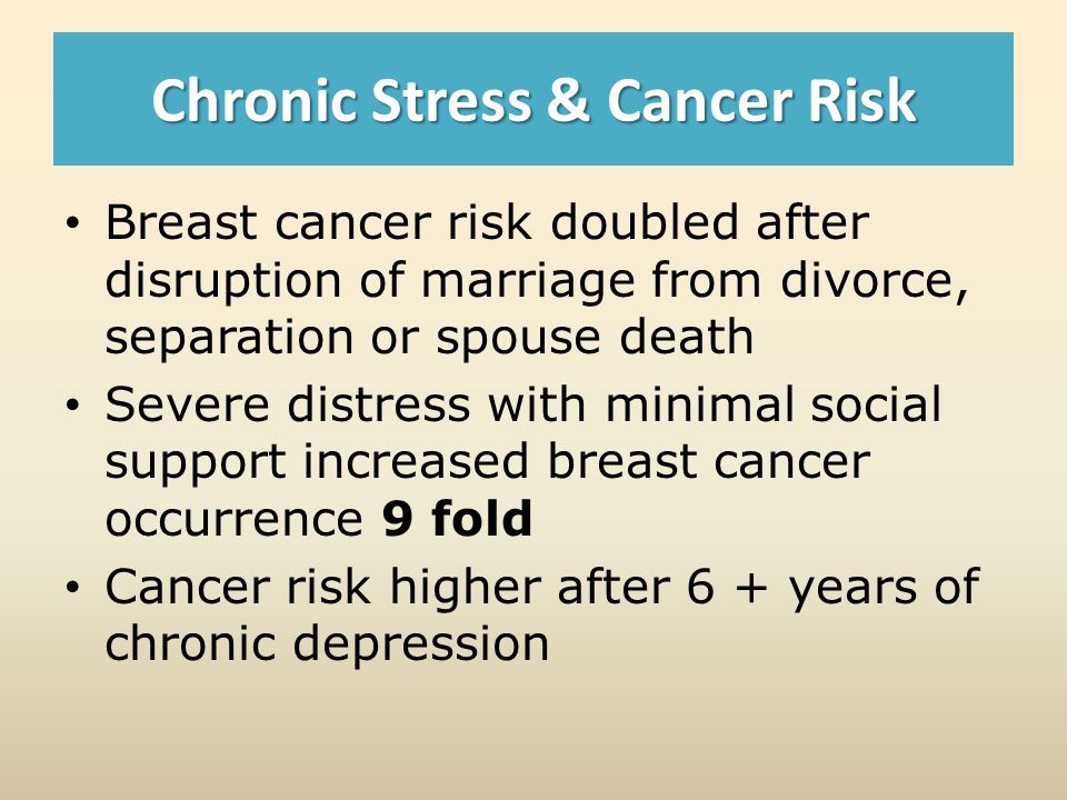 Chronic Stress & Cancer Risk Breast cancer risk doubled after disruption of marriage from divorce, separation or spouse death Severe distress with minimal social support increased breast cancer occurrence 9 fold Cancer risk higher after 6 + years of chronic depression
