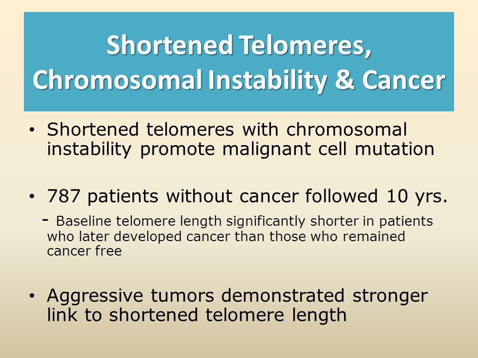 Shortened Telomeres, Chromosomal Instability & Cancer Shortened telomeres with chromosomal instability promote malignant cell mutation 787 patients without cancer followed 10 yrs.