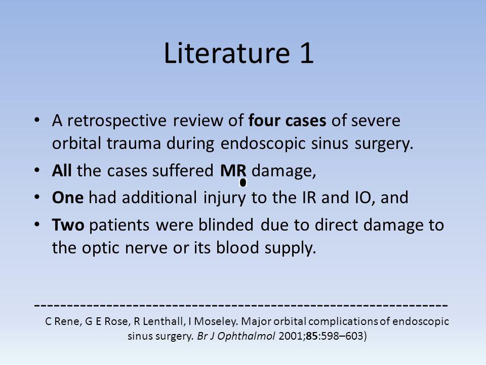 C Rene, G E Rose, R Lenthall, I Moseley. Major orbital complications of endoscopic sinus surgery. Br J Ophthalmol 2001;85:598–603) A retrospective rev