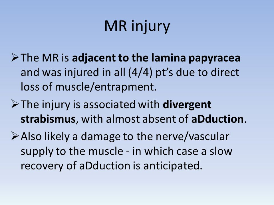 MR injury The MR is adjacent to the lamina papyracea and was injured in all (4/4) pts due to direct loss of muscle/entrapment. The injury is associate