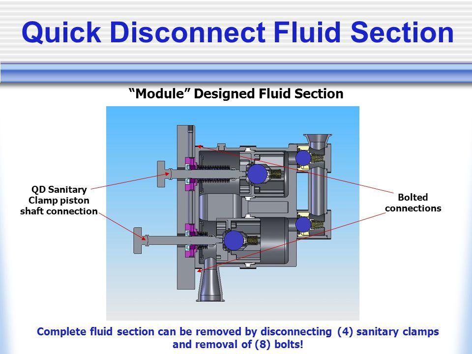Quick Disconnect Fluid Section QD Sanitary Clamp piston shaft connection Module Designed Fluid Section Complete fluid section can be removed by discon