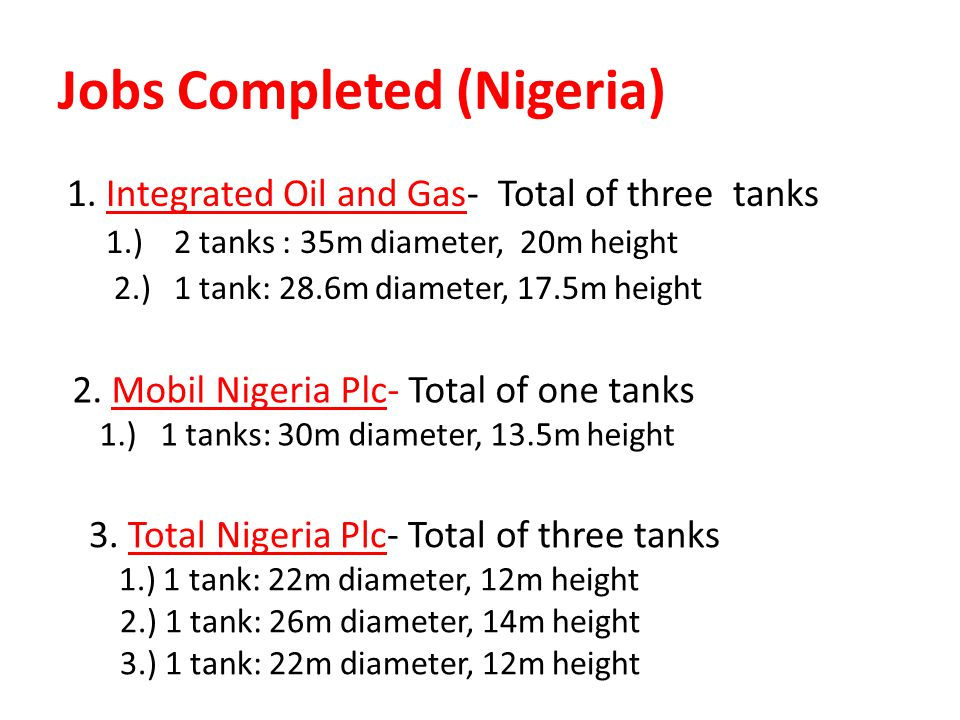 Jobs Completed (Nigeria) 1.