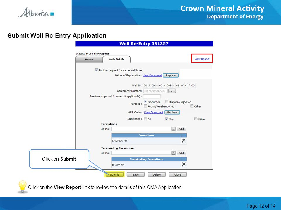 Page 12 of 14 Click on Submit Submit Well Re-Entry Application Click on the View Report link to review the details of this CMA Application.